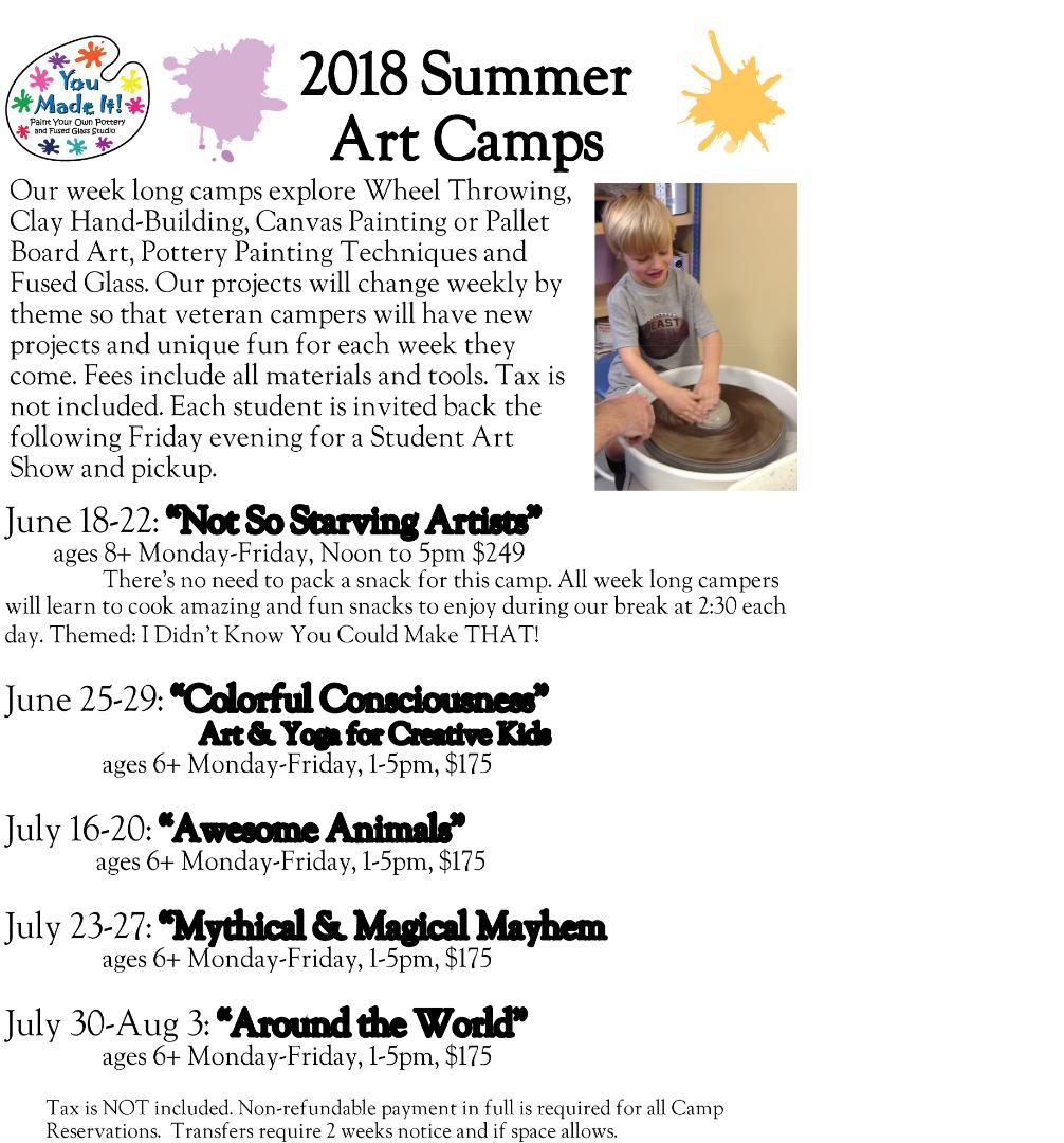 Week Long Summer Art Camp: