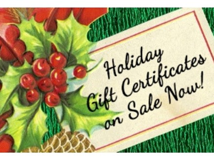50% off $45 Gift Certificates for Christmas