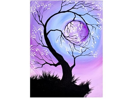 Cherry Tree holding the Moon - Canvas - Paint and Sip