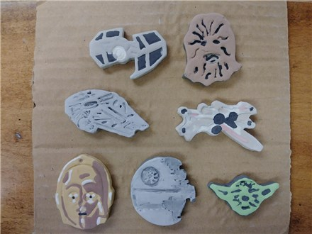 Kid's Clay Handbuilding - Star Wars Magnets - Afternoon Session - 01.17.18