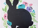 Adult Canvas - Floral Rabbit Chalkboard - Evening Session - 03.29.18