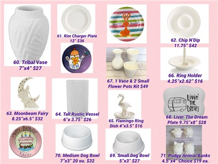 'Paint Your Own' ALL POTTERY, CANVAS & MOSAIC TO-GO Kits