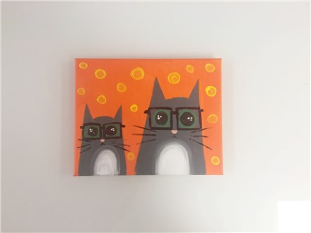 Hipster Kitty Kats (mommy/daddy and me ages 4+) Canvas Class