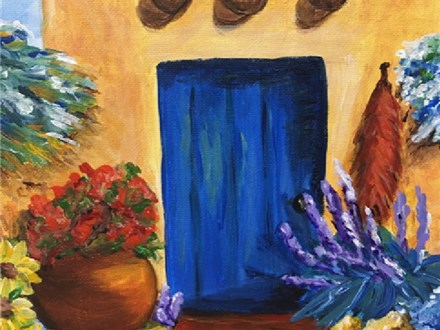 Pueblo With FLowers Canvas Paint and Sip Event