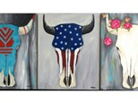 """Cow Skull Choice - """"Aztec, Americana or Roses"""" - select upon registration"""