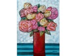 Mixed Media Textured Roses 12x16 canvas