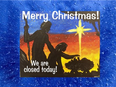 Merry Christmas!!  We are closed today!