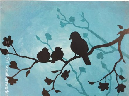 Canvas & Wine Night!  Mother Bird!  5/5/16