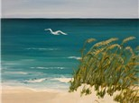 Surf, Sand and Seagull - 12x16 canvas