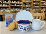 """""""USA Red, White & Blue"""" - Plate, Bowl & Mug, Crafts, Movie, and FUN! Thursday, August 6th: 10am-3pm"""