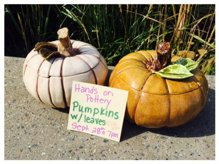 Hands On Pottery - Pumpkins W/ Leaves - September 28th
