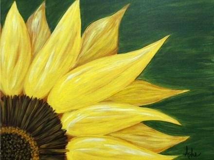 Sunflower - green background - 16x20 canvas