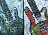 Guitar - Colors are optional and backgrounds will differ. 16x20 canvas