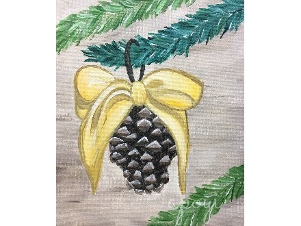 Festive Pinecone Canvas Painting Event