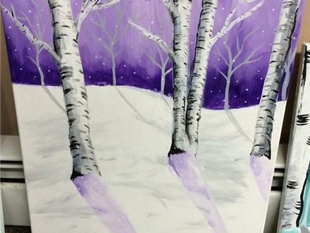 "Canvas Night ""Birch Trees"" Friday, January 27th 7-10pm"
