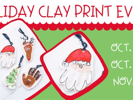 11/7 HOLIDAY CLAY PRINT EVENT @ THE POTTERY PATCH