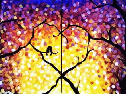 """Couples' or Singles Canvas! - """"Treetop Romance"""""""