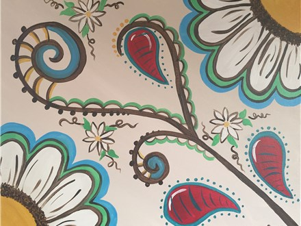 """Canvas Night """"Paisley Flowers"""" Saturday, April 23rd 7-10pm"""