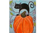 Cat and Pumpkin - canvas size 16x20  *ages 14+