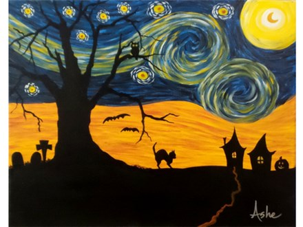 Spooky Starry Night (16x20 canvas)