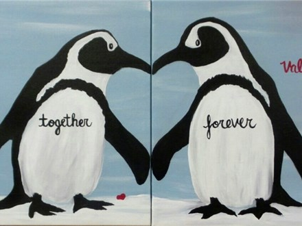 Penguin - Soul Mates - Add any message to design 12x12 canvas