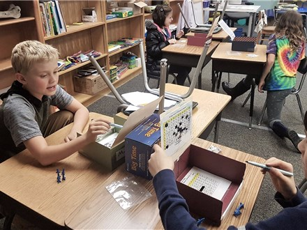 """These 4th graders play """"Rocketship Division""""© to hone their division and game strategy skills."""