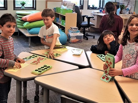 "1st graders play ""High-Low Pairs©"" to practice addition and subtraction!"