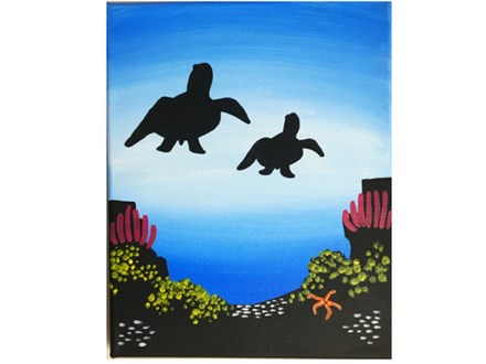 Adult Class Sea Turtle Canvas Painting 08/29