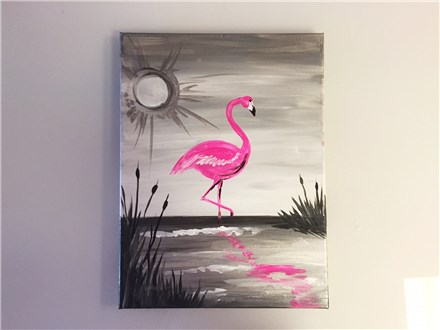 REPEAT Florescent Flamingo (Adult) Canvas Class