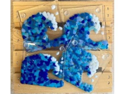 Wave Coaster Fused Glass Set