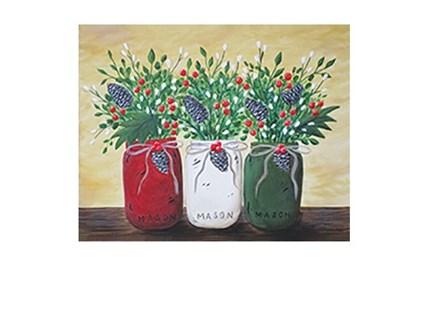Christmas Mason Jars - Canvas - Paint and Sip