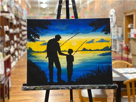 June 5th Father fishing canvas