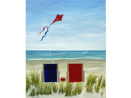 Beach Break - Choice colors for chairs - 1 canvas per person. Couples can paint a single chair on each canvas.