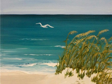 Surf, Sand, Seagull - 12x16 canvas