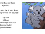 Kids beginners canvas class-Koalas