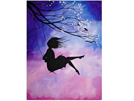 Cherry Blossom Swing and Girl - Canvas - Paint and Sip