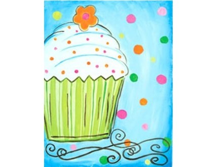 Kids' Canvas Class!  Delicious Cupcake!  6/25/16