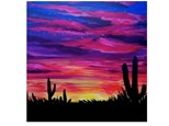 Adult Canvas -Cactus Sunset -  March 3rd