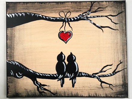 Adult Love Birds Canvas Painting 07/31