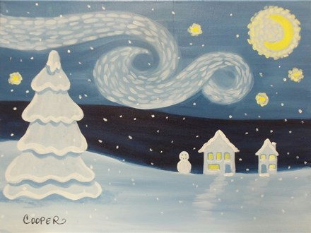 Kids Snowy Starry Night (Adults and Children Ages 8+)  One canvas per person.