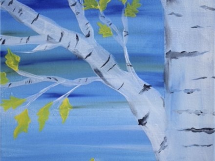 Painting In Paris Birch Trees Acrylic Painting