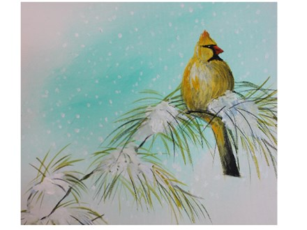 Yellow Snowbird - Canvas - Paint and Sip