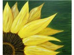 Sunflower with green background (your choice background color - please specify upon registration. Paint colors are prepared before arriving to class.)