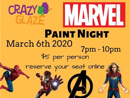 Marvel Comics Paint Night at Crazy Glaze