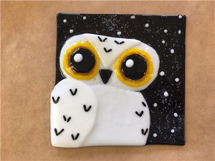 Fused Glass - Snowy Owl Dish - Morning Session - 09.08.17