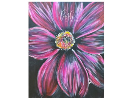 Pink Flower Paint Class - Perry