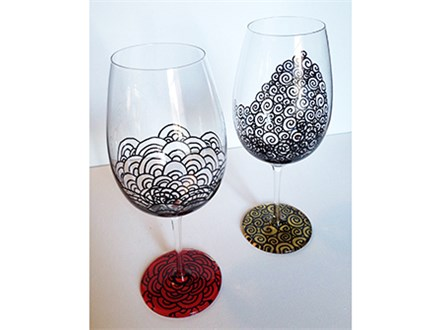 Wine glass and Wine Walk glass painting