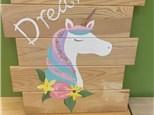Summer Camp Unicorn Wood Board Tuesday, July 13th 10AM-12PM