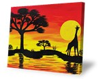 Summer Camp Tuesday, August 7th Sunset Canvas with Giraffe Silhouette