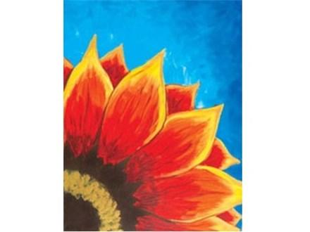 Canvas & Wine Night!  Red Sunflower! 4/27/17